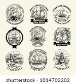 collection of sea illustration... | Shutterstock .eps vector #1014702202
