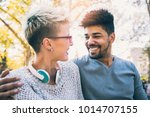 young mixed race couple... | Shutterstock . vector #1014707155