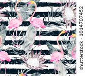 abstract tropical pattern with... | Shutterstock . vector #1014707452