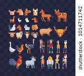 set of farm animals characters. ... | Shutterstock .eps vector #1014711742