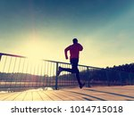 rear view to runner in blue t... | Shutterstock . vector #1014715018