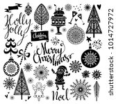 christmas holiday icons. hand... | Shutterstock . vector #1014727972