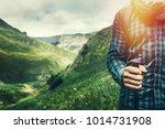 young hiker with trekking poles ...   Shutterstock . vector #1014731908