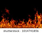 fire flames on black background. | Shutterstock . vector #1014741856