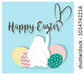 cute and colorful happy easter... | Shutterstock .eps vector #1014742216