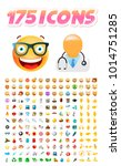 set of 175 realistic cute icons ... | Shutterstock .eps vector #1014751285