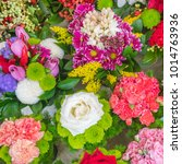colorful bouquets of different... | Shutterstock . vector #1014763936