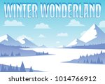 a stylized snowy mountains... | Shutterstock .eps vector #1014766912
