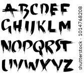 handdrawn dry brush font.... | Shutterstock .eps vector #1014768208