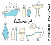 hand drawn vintage set of... | Shutterstock .eps vector #1014769126