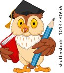 cartoon owl holding pencil and... | Shutterstock .eps vector #1014770956