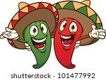 happy cartoon chili peppers... | Shutterstock .eps vector #101477992