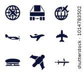 flight icons. set of 9 editable ... | Shutterstock .eps vector #1014783502