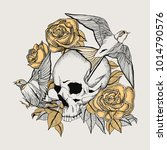 skull tattoo with roses and... | Shutterstock .eps vector #1014790576