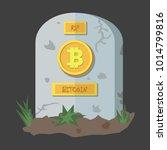 bitcoin icon tombstone flat... | Shutterstock .eps vector #1014799816
