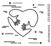 linear art silhouette of heart... | Shutterstock .eps vector #1014818332