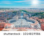 saint peter's square in vatican ... | Shutterstock . vector #1014819586