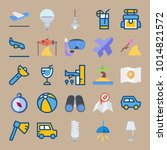 icons beach and camping with... | Shutterstock .eps vector #1014821572