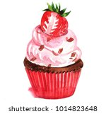 cake with cream and berries | Shutterstock . vector #1014823648