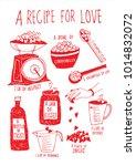 recipe for love  valentine's... | Shutterstock .eps vector #1014832072