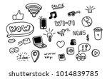 doodle social media icons | Shutterstock .eps vector #1014839785