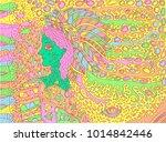 shamanic forest spirit. doodle... | Shutterstock .eps vector #1014842446