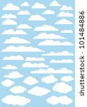 vector clouds collection. 37cute clouds | Shutterstock vector #101484886