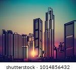 abstract city landscape sunset... | Shutterstock .eps vector #1014856432