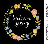 vector floral wreath with...   Shutterstock .eps vector #1014858526
