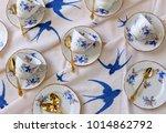 vintage blue bird tea cups