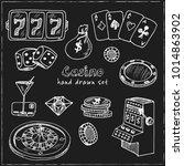 casino. hand drawn doodle set.... | Shutterstock .eps vector #1014863902