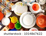 the dishes are assembled... | Shutterstock . vector #1014867622