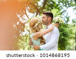 bridal couple celebrating... | Shutterstock . vector #1014868195