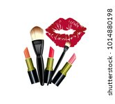 lipstick vector red and kiss   Shutterstock .eps vector #1014880198