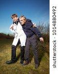 paramedic helping to older man...   Shutterstock . vector #1014880492