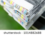 cmyk color bars on printed... | Shutterstock . vector #1014882688