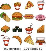 fast food colorful thin line... | Shutterstock .eps vector #1014888352