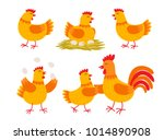 Happy Hen Cartoon Character In...