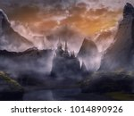 Small photo of castle in fantasy landscape summer with sunset