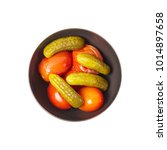 pickled vegetables. cucumber. a ... | Shutterstock . vector #1014897658