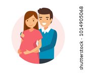 happy expecting couple   vector ... | Shutterstock .eps vector #1014905068