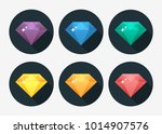 vector set of colored diamonds | Shutterstock .eps vector #1014907576