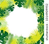 tropical leaves vector frame. | Shutterstock .eps vector #1014909952