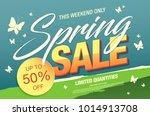 spring sale banner template... | Shutterstock .eps vector #1014913708