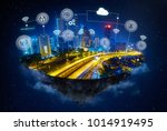 fantasy island floating in the... | Shutterstock . vector #1014919495