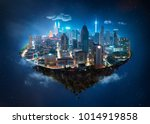 fantasy island floating in the... | Shutterstock . vector #1014919858