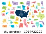 usa map with separated states.... | Shutterstock .eps vector #1014922222