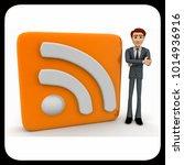 3d man standing beside rss feed ... | Shutterstock . vector #1014936916
