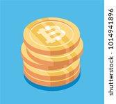 bitcoin. physical bit coin.... | Shutterstock .eps vector #1014941896