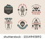 set of vintage snowboarding ... | Shutterstock .eps vector #1014945892